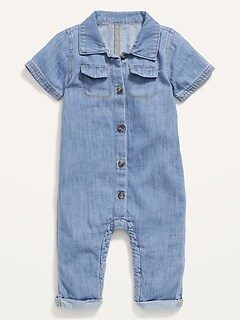 Unisex Jean Utility Button-Front Jumpsuit for Baby