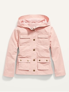 Water-Resistant Hooded Utility Jacket for Girls
