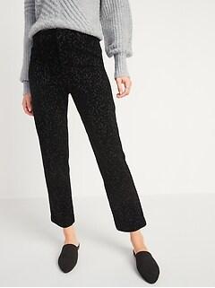 Tout nouveau pantalon Pixie droit, à la cheville, taille haute, imprimé léopard floqué pour femme