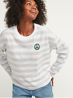 Loose Thick-Knit Striped Embroidered Graphic Easy Long-Sleeve Tee for Women