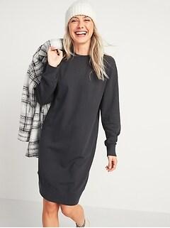 Garment-Dyed Sweatshirt Shift Dress for Women