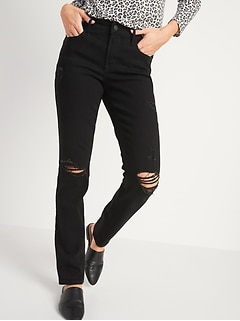 Mid-Rise Power Slim Straight Black Ripped Jeans for Women