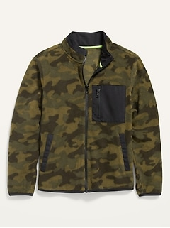 Micro Fleece Camo Zip Jacket for Boys