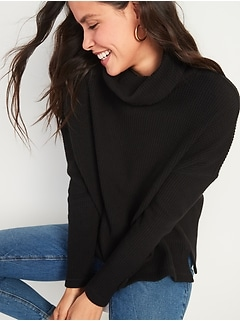Oversized Cozy Thermal-Knit Cowl-Neck Long-Sleeve Top for Women