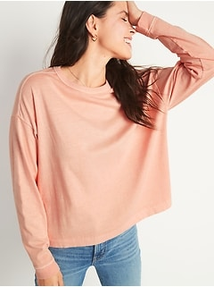 Loose Garment-Dyed Long-Sleeve Easy Tee for Women