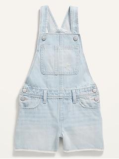 Light-Wash Frayed-Hem Jean Shortalls for Girls