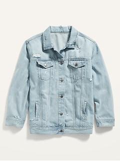 Boyfriend Ripped Light-Wash Plus-Size Jean Jacket
