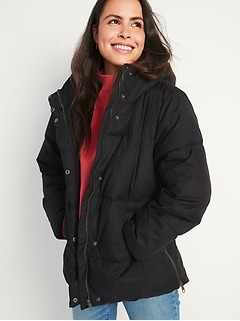 Faux-Fur Lined Hooded Puffer Coat for Women