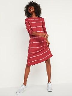 Tie-Dye Stripe Midi T-Shirt Shift Dress for Women