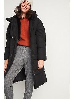 Faux-Fur Lined Hooded Long Puffer Coat for Women