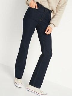 Mid-Rise Kicker Boot-Cut Dark-Wash Jeans for Women