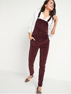 Velvet Straight-Leg Overalls for Women