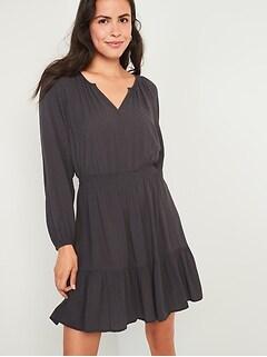 Waist-Defined Textured Dobby Dress for Women
