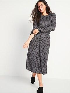 Waist-Defined Long-Sleeve Midi T-Shirt Dress for Women