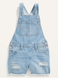 Light-Wash Distressed Jean Shortalls for Girls