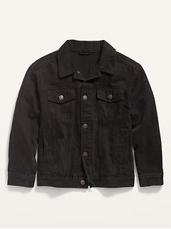Gender-Neutral Oversized Black Jean Trucker Jacket for Kids