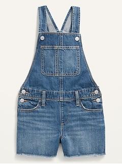 Medium-Wash Frayed-Hem Jean Shortalls for Girls