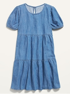 Short-Sleeve Tiered Chambray Dress for Girls