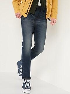 Slim Rigid Non-Stretch Dark-Wash Jeans for Men