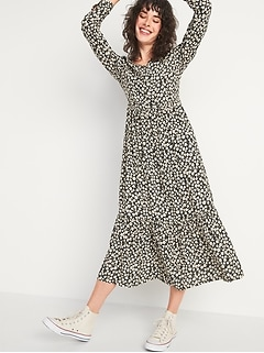 Printed Tiered-Hem Maxi Swing Dress for Women