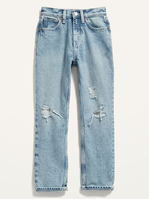 High-Waisted Slouchy Straight Light-Wash Ripped Jeans for Girls