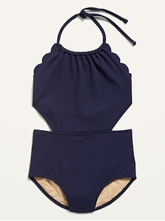 Textured Scallop-Edged Cutout Swimsuit for Girls
