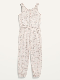 Sleeveless Printed Pajama Jumpsuit for Girls