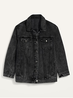 Boyfriend Plus-Size Black Jean Jacket
