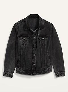 Black Acid-Wash Plus-Size Jean Jacket