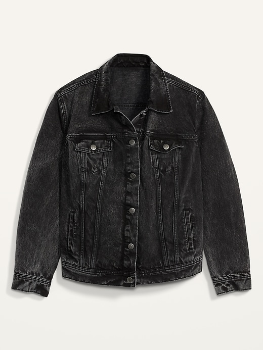 Black Acid-Wash Plus-Size Jean Jacket