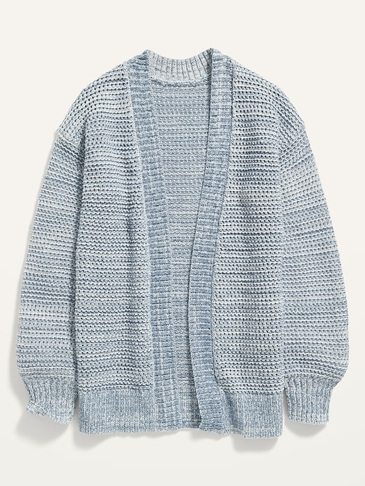 Open-Front Marled Pointelle Sweater for Girls