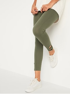 High-Waisted Knotted-Hem Leggings for Women
