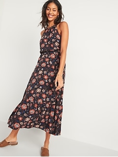 Waist-Defined Braided-Strap Printed Maxi Dress for Women