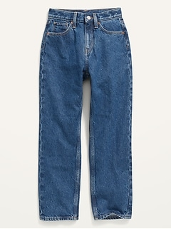 High-Waisted Slouchy Straight Medium-Wash Jeans for Girls