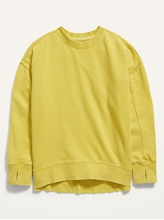 Oversized French Terry Hi-Lo Pullover Sweatshirt for Girls