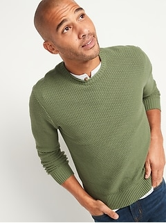 Textured-Knit Crew-Neck Sweater for Men