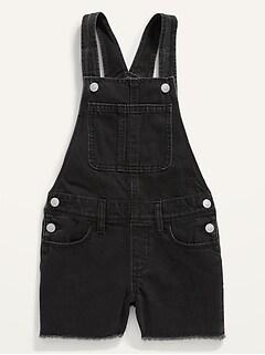 Black-Wash Frayed-Hem Jean Shortalls for Girls
