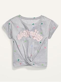 Short-Sleeve Twist-Hem Pajama Top for Girls