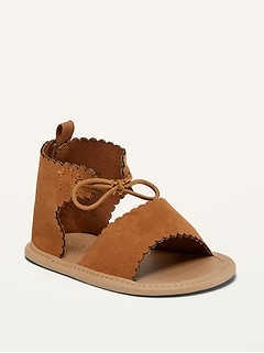 Scalloped Faux-Suede Gladiator Sandals for Baby