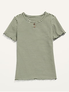 Striped Rib-Knit Short-Sleeve Henley for Girls