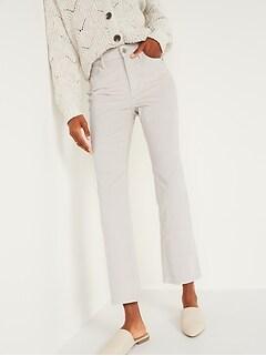 High-Waisted Crop Flare Velvet Ankle Jeans for Women