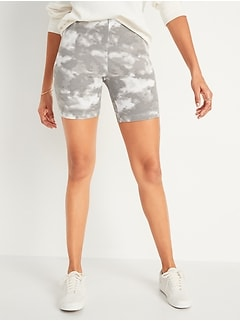 High-Waisted Printed Bike Shorts for Women -- 7-inch inseam