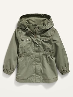 Veste à capuchon militaire de style scout en sergé pour Toute-petite fille