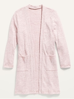 Super-Long Open-Front Marled Sweater for Girls