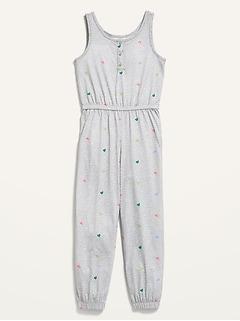 Sleeveless Printed Pajama Jumpsuit for Girls