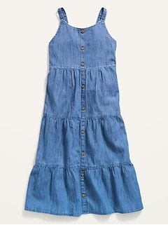 Sleeveless Tiered Chambray Midi Dress for Girls