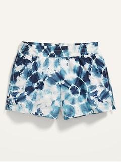 Go-Dry Cool Printed Dolphin-Hem Run Shorts for Girls