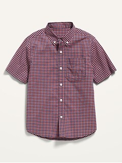 Built-In Flex Short-Sleeve Plaid Pocket Shirt for Boys