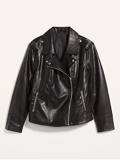 Faux-Leather Plus-Size Moto Jacket