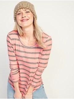Cozy Rib-Knit Striped Long-Sleeve Tee for Women